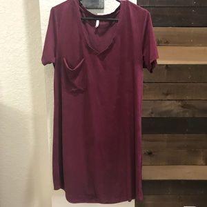 [Z Supply] Shirt Dress- Maroon With Pocket